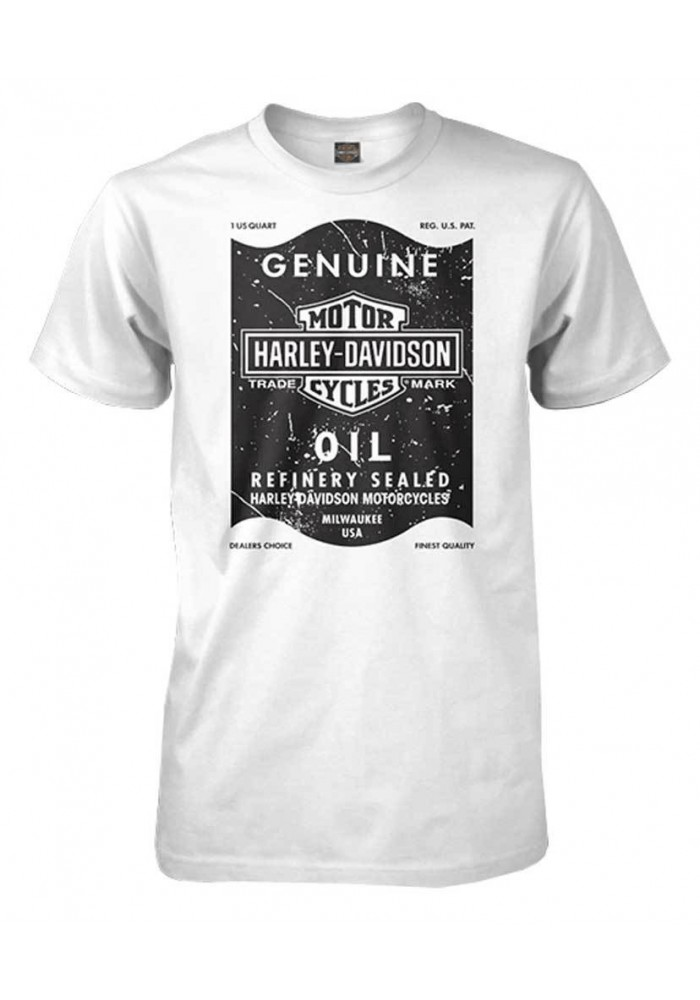 Harley Davidson Homme Distressed Oil Can  T-Shirt Manches Courtes, Blanc