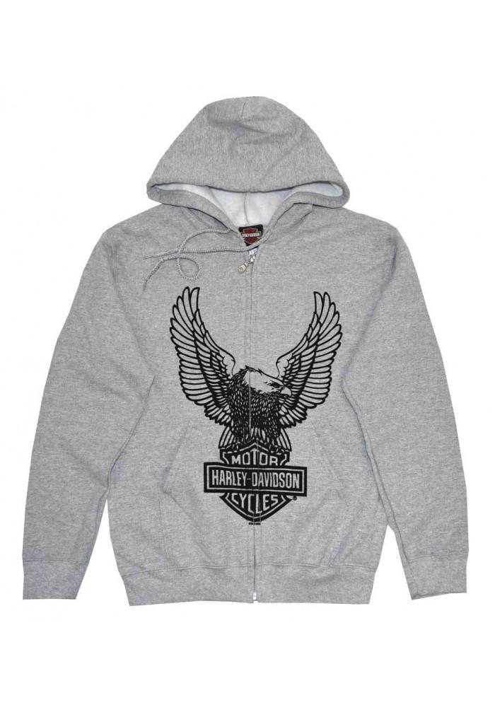 Harley Davidson Homme Sweatshirt à Capuche, H-D Eagle Zip Gris 30296664