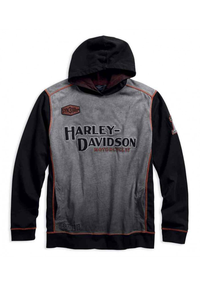 Harley Davidson Homme Iron Block Distressed Pullover , Noir 99001-17VM