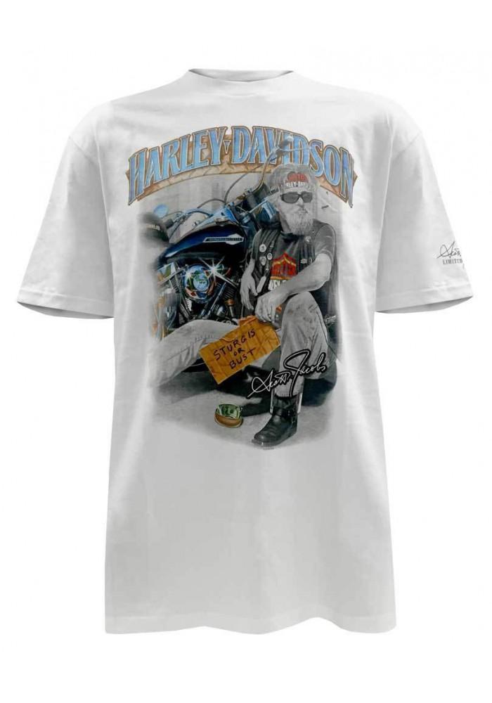 Harley Davidson Homme Pan Handler Sturgis T-Shirt Manches Courtes, Blanc 5504-HC58