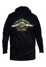 Harley Davidson Homme Pullover Sweatshirt à Capuche, USA Winged Camo Graphic, Noir