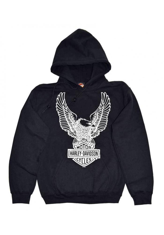 Harley Davidson Homme Pullover Sweatshirt, Eagle à Capuche, Noir 30296662