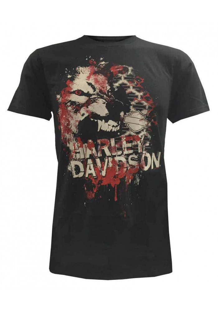 Harley Davidson Homme Tee Shirt Manches Courtes, Off The Wall Wolf, Noir