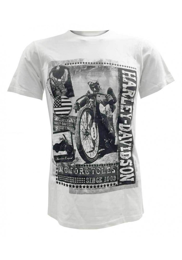 Harley Davidson Homme Tee Shirt Manches Courtes, Vintage Time Capsule, Blanc