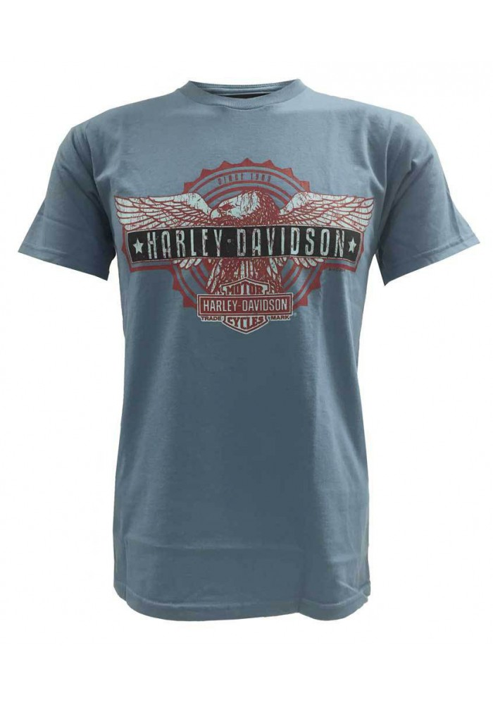 Harley Davidson Homme T-Shirt Manches Courtes, Patriotic Eagle Bar Graphic, Bleu