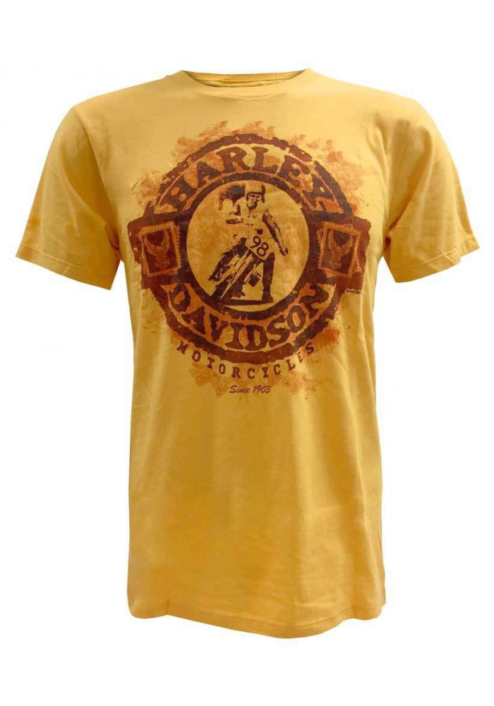 Harley Davidson Homme Tee Shirt Manches Courtes, Distressed Stamped Sphere Graphic, Gold