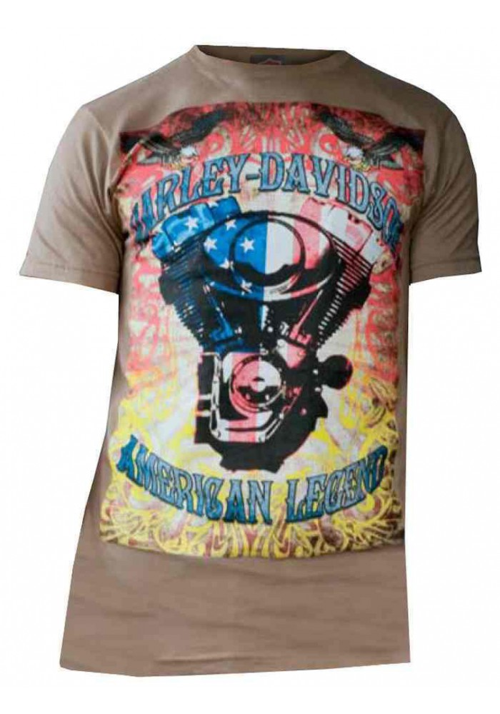 Harley Davidson Homme , Colorful American Legend Tee Shirt Manches Courtes, Coco
