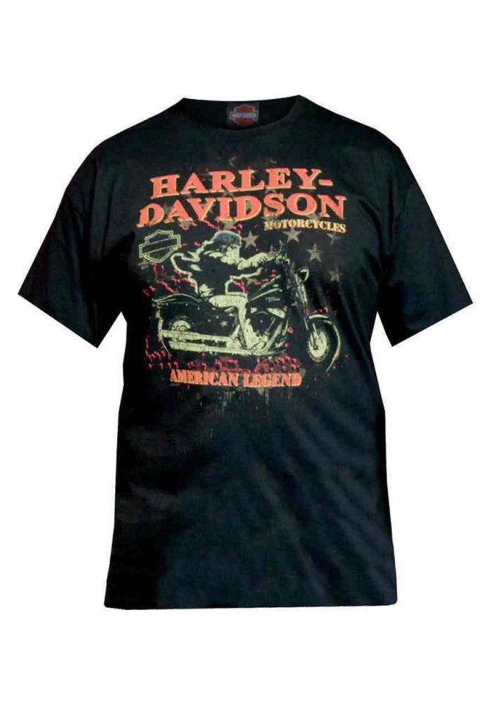 Harley Davidson Homme , Distressed Night Rider Tee Shirt Manches Courtes, Noir