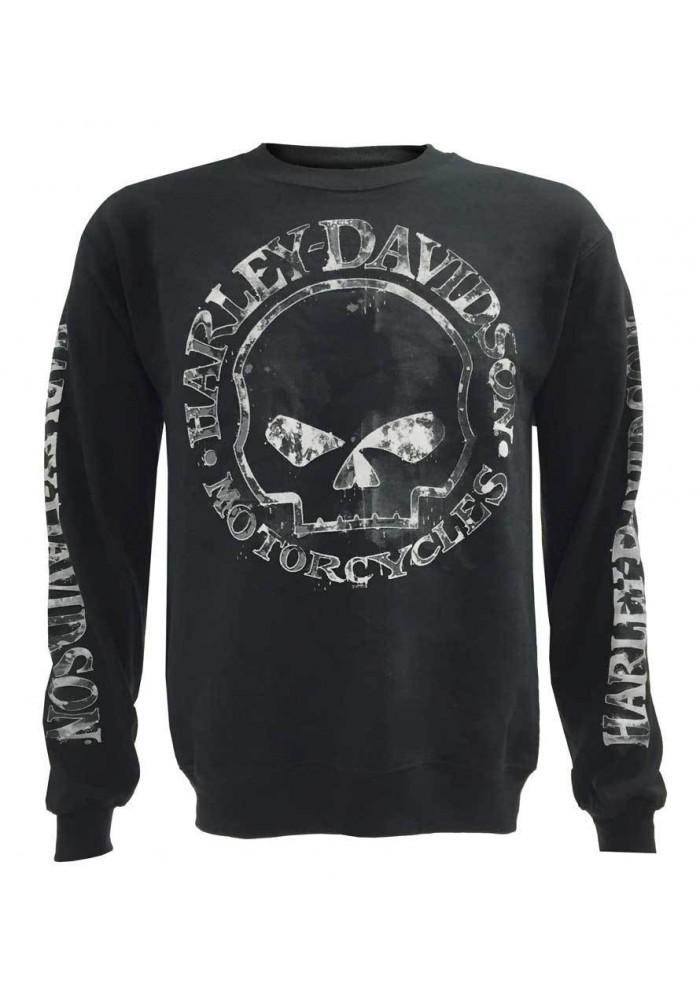 Harley Davidson Homme Willie G Skull Sweatshirt, Noir Crew Pullover 30296649