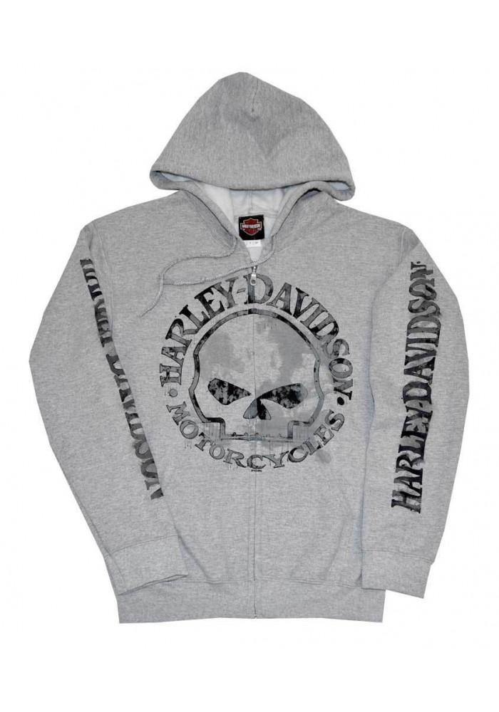 Harley Davidson Homme Zip Sweatshirt Veste H D Skull Gris 30296653
