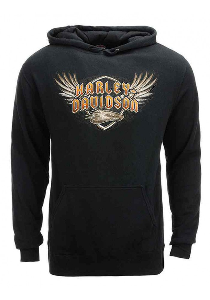Harley Davidson Homme Eagle Shielded Wings Sweatshirt, Noir HARLMS0066