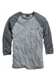 Harley Davidson Homme 3/4 Raglan Sleeve Baseball T-Shirt, Gris. 96015-15VM