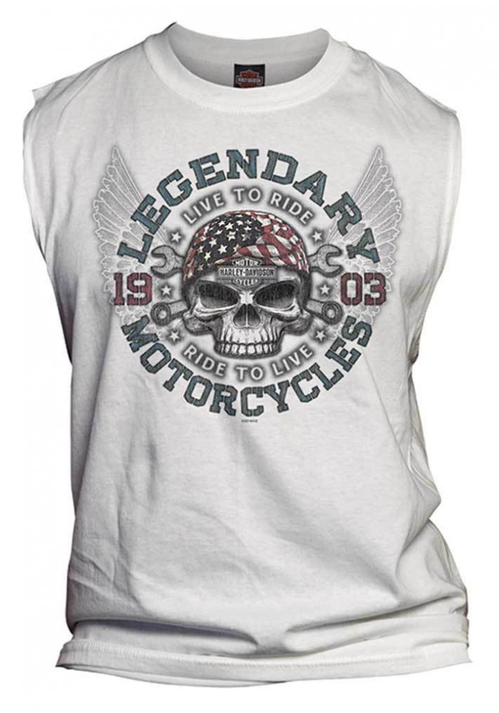 Harley Davidson Homme Anthem Winged Skull Tee Shirt sans Manches Muscle, Blanc