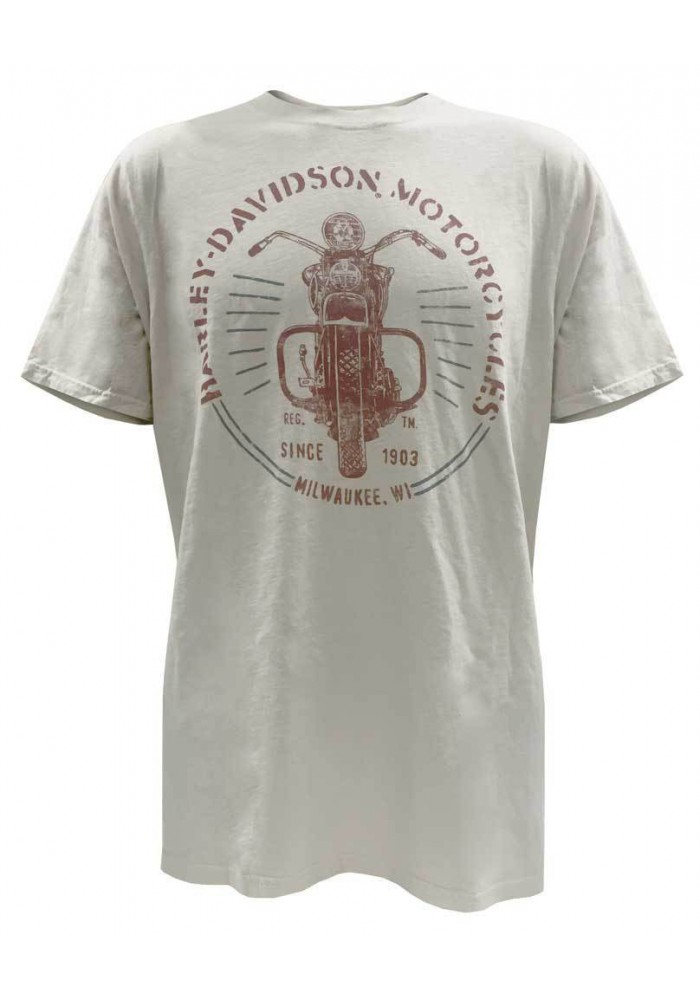 Harley Davidson Homme Black Label Vintage Motorcycle Front View T-Shirt.