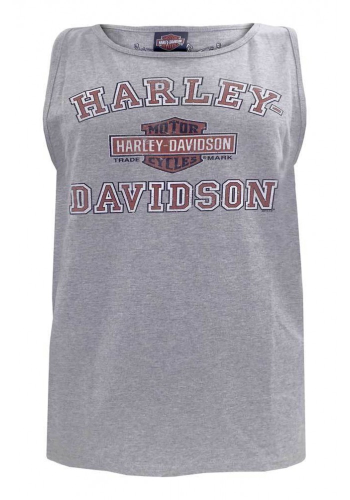 Harley Davidson Homme Distressed Biker Breed Muscle Chemise, Gris 5500-HC3P