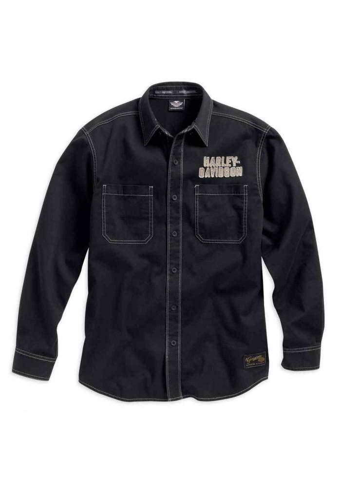 Harley Davidson Homme Genuine Classics Eagle Chemise Manches Longues, Noir. 99010-16VM