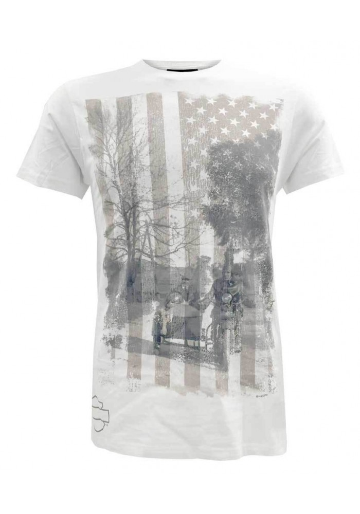 Harley Davidson Homme H-D Vintage Patriot Double Exposed Tee Shirt Manches Courtes, Blanc