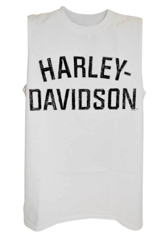 Harley Davidson Homme Heritage H-D Script Muscle Chemise Sable Tank Top, Blanc 30296632