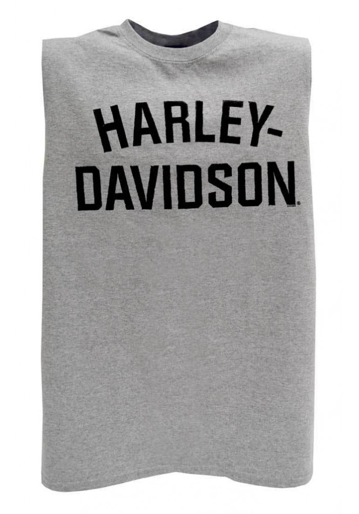 Harley Davidson Homme Heritage H-D Script Muscle Sable Tank Top, Gris 30296637