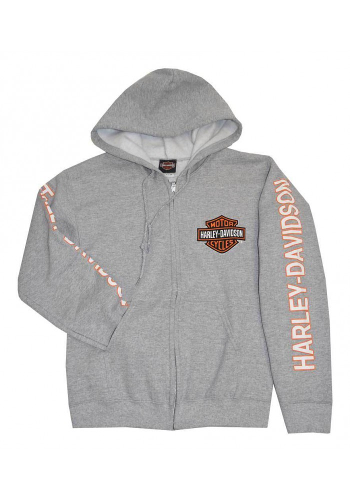 Harley Davidson Homme Sweatshirt à Capuche Veste Bar & Shield Gris 30296615