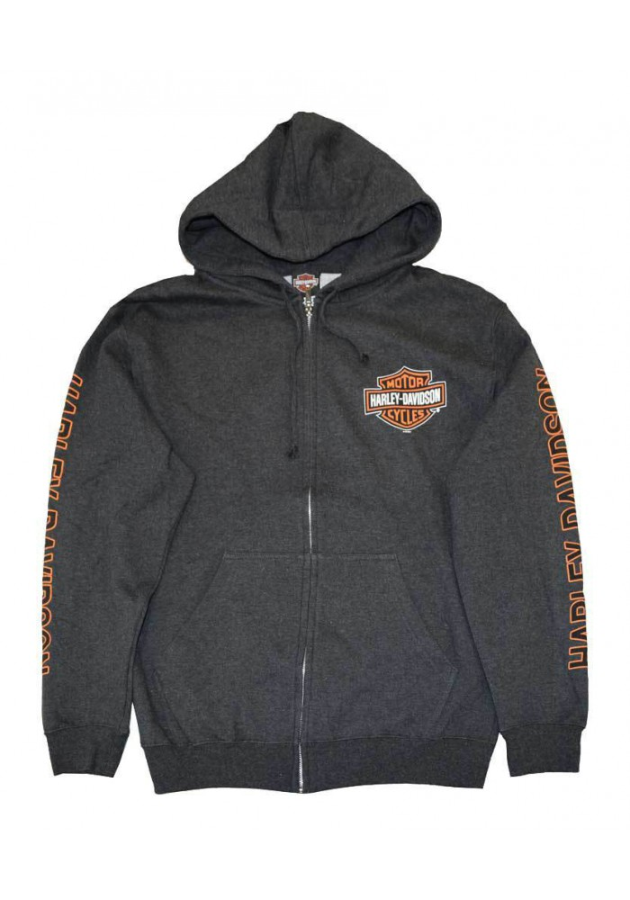 Harley Davidson Homme Sweatshirt à Capuche, Bar & Shield Zip Gris 30299143