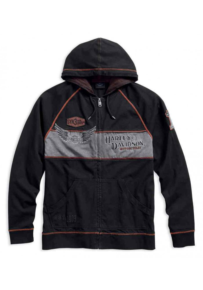 Harley Davidson Homme Iron Block Distressed Zip , Noir 99000-17VM