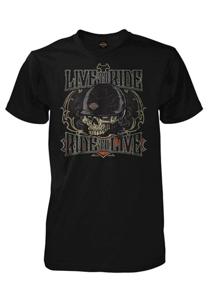 Harley Davidson Homme Live To Ride Motorcycle Skull Tee Shirt Manches Courtes, Noir