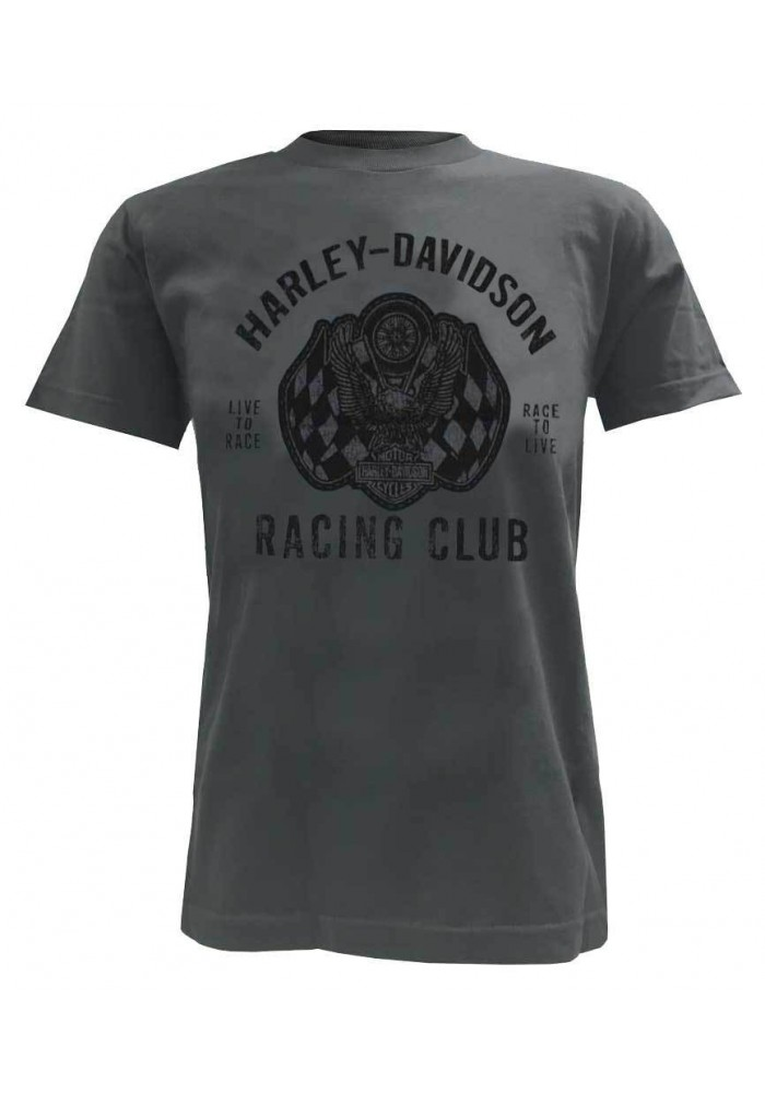 Harley Davidson Homme Racing Club Eagle T-Shirt Manches Courtes Charcoal 30298298