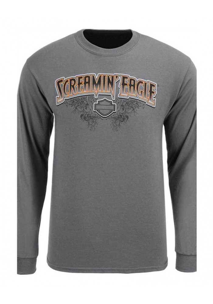 Harley Davidson Homme Eagle Scroll Chemise Manches Longues, Gris HARLMT0241