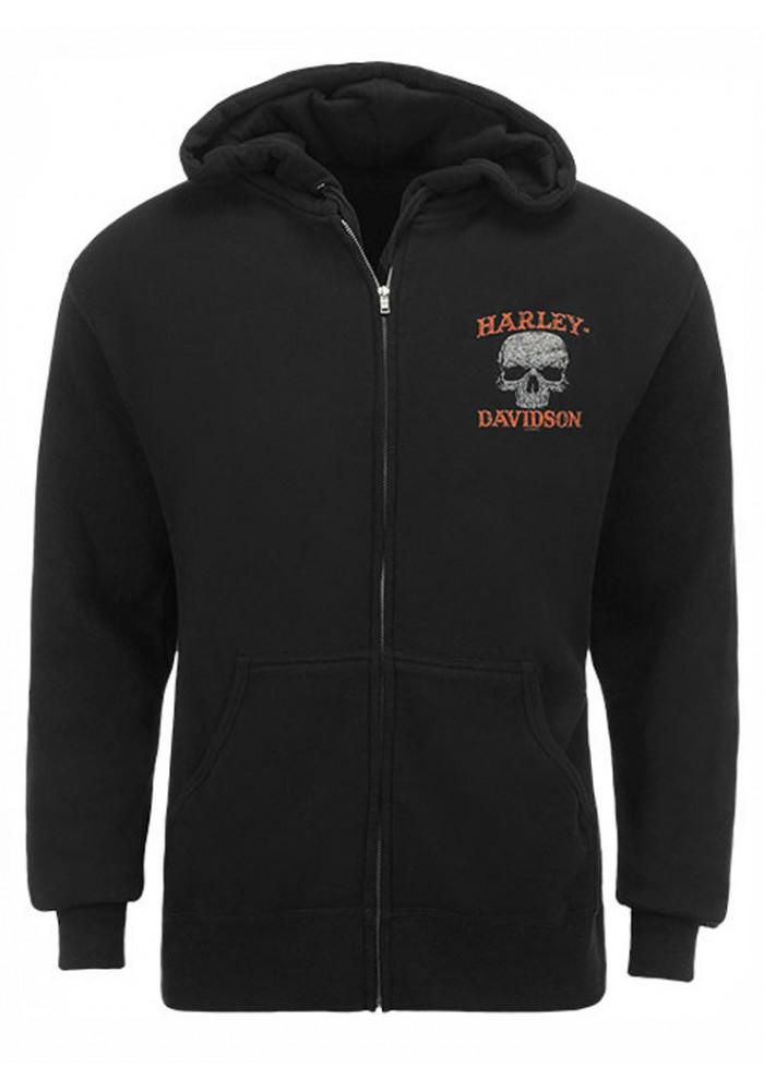 Harley Davidson Homme Eagle Sweatshirt, Skull Zip Noir HARLMS0061