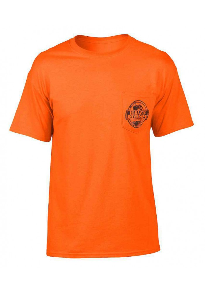 Harley Davidson Homme Manches Courtes Stamp T-Shirt, Sablegerine Orange