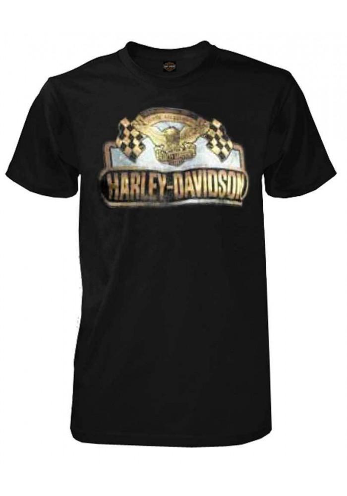 Harley Davidson Homme T-Shirt Manches Courtes, Gold Rouge Flags, Noir