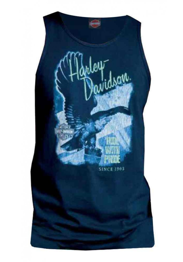 Harley Davidson Homme Tee Shirt sans Manches Muscle, Victorious Flying Eagle, Bleu Marine