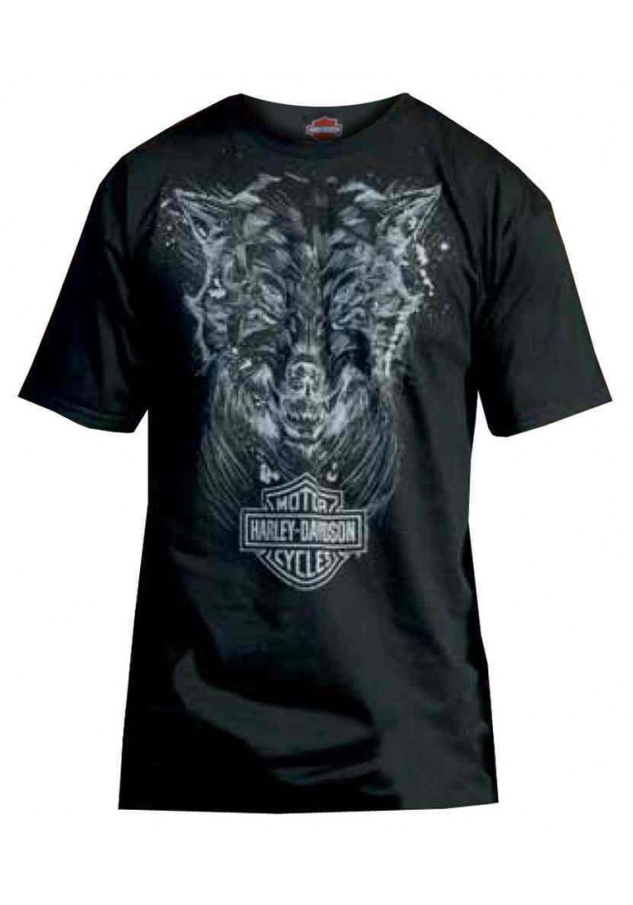 Harley Davidson Homme T-Shirt, Sketched Wolf Graphic Noir