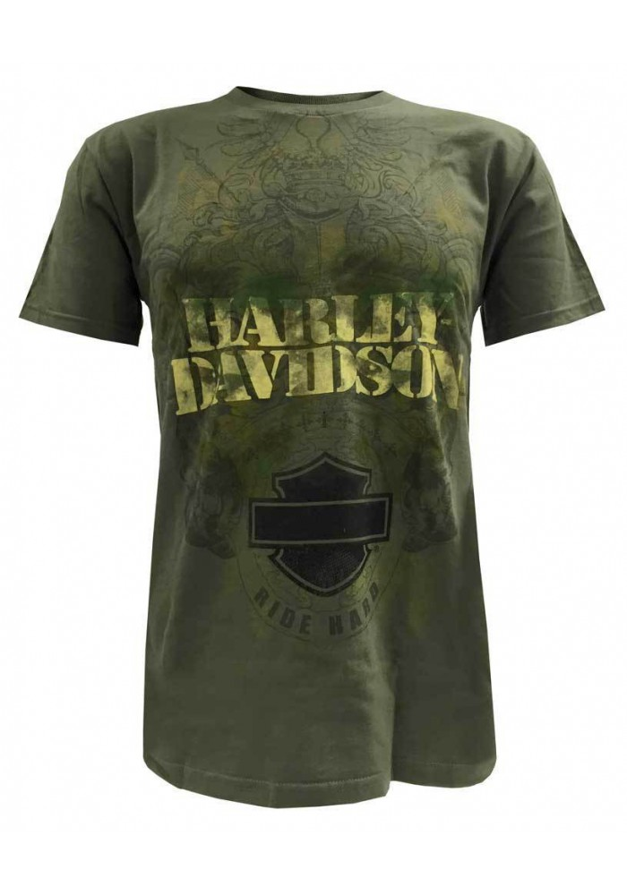 Harley Davidson Homme T-Shirt, Bar & Shield Ride Hard Fatigue Camo Vert
