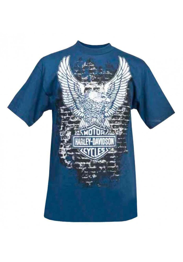 Harley Davidson Homme Up-Wing Eagle Brick Graphic T-Shirt Manches Courtes, Bleu