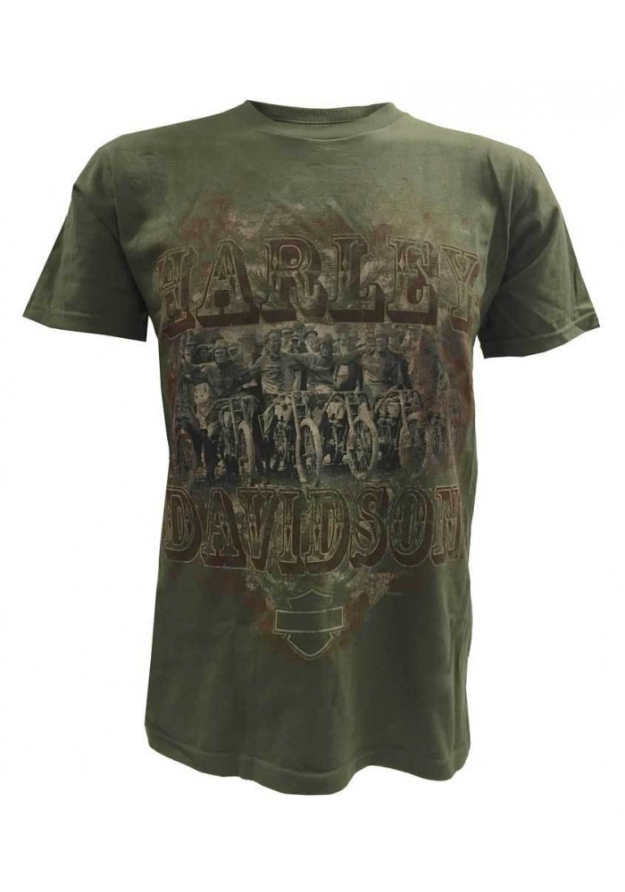 Harley Davidson Homme Vintage Motorcycle Crew T-Shirt Manches Courtes, Vert