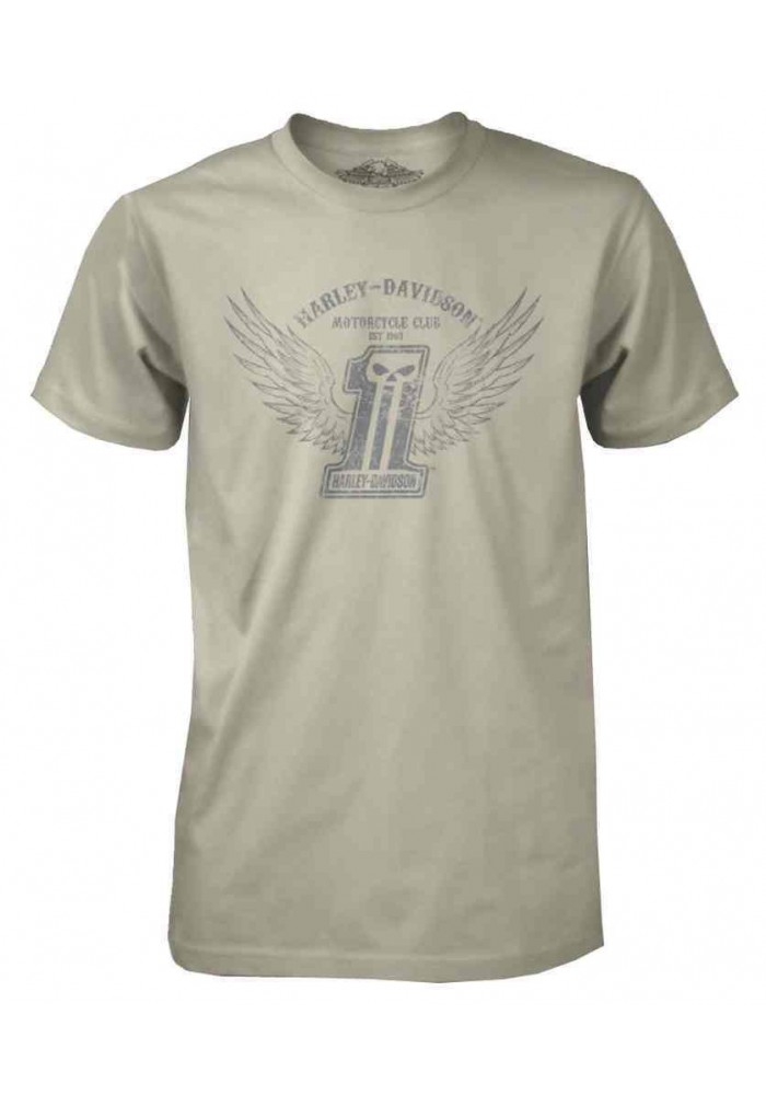 Harley Davidson Homme Black Label Stone Wings T-Shirt Manches Courtes Crème 30291306