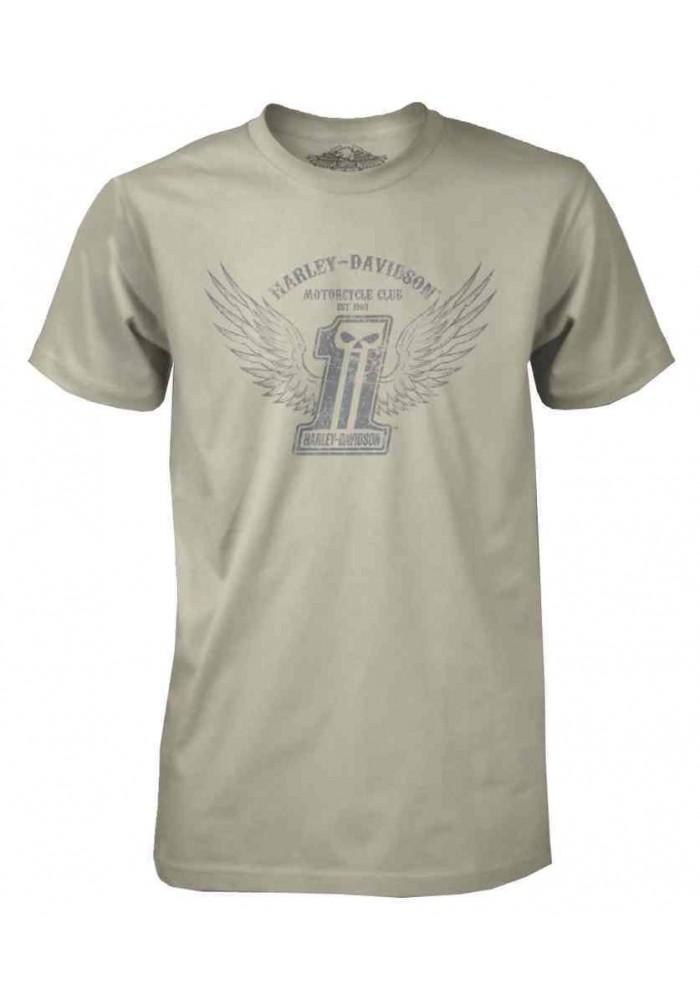 Harley Davidson Homme Black Label Stone Wings T-Shirt Manches Courtes Crème 30291306