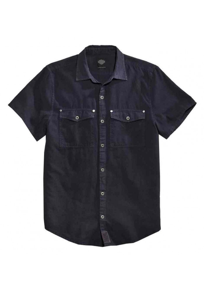 Harley Davidson Homme Chambray Button Front Chemise Manches Courtes 96462-16VM