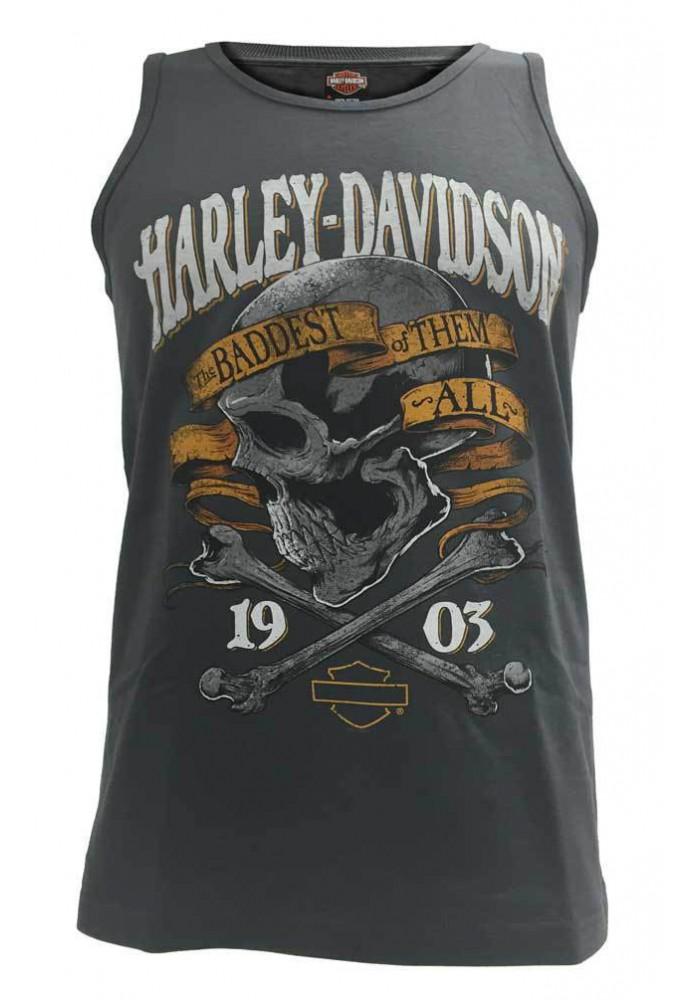Harley Davidson Homme Cross & Bones Skull Tee Shirt sans Manches Muscle, Charcoal
