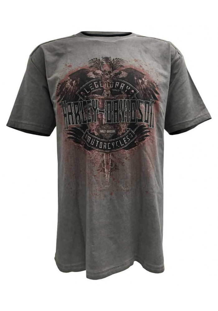 Harley Davidson Homme Distressed Ghosted Legend T-Shirt Manches Courtes, Charcoal