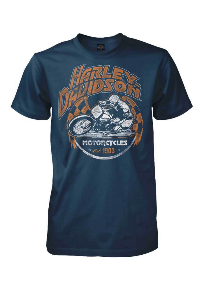 Harley Davidson Homme Distressed Racing Legend T-Shirt Manches Courtes, Harbor Bleu