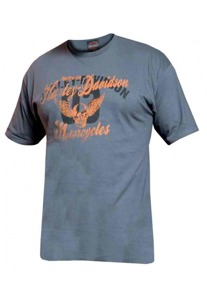 Harley Davidson Homme Garage Days Winged Skull Tee Shirt Manches Courtes, Charcoal