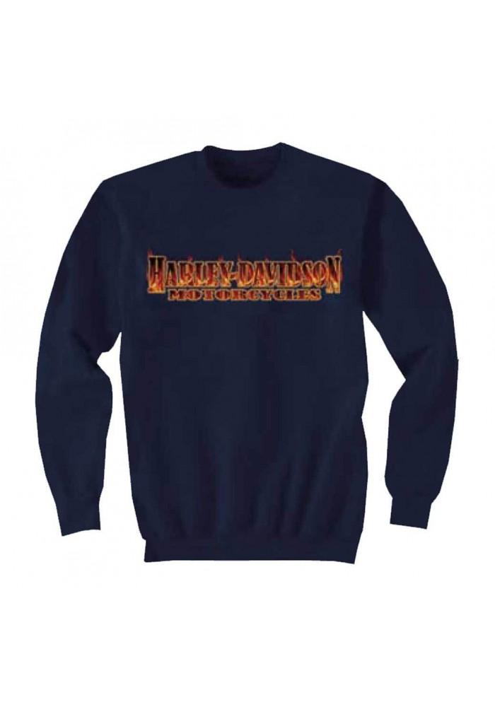 Harley Davidson Homme Inferno Flaming Script Crew Sweatshirt, Bleu