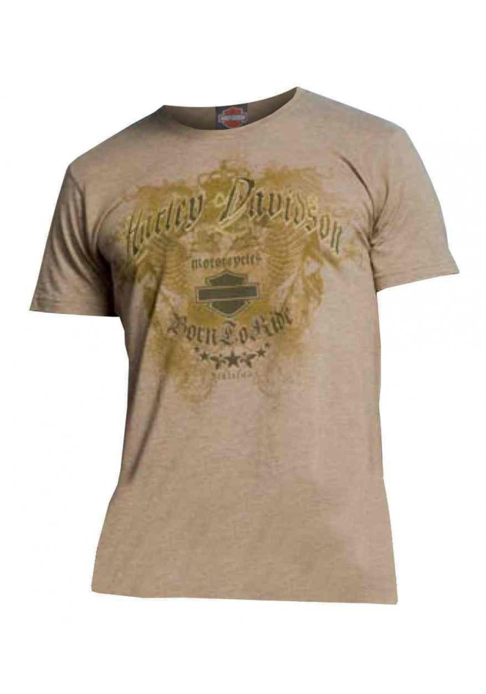 Harley Davidson Homme Fitted Tee Shirt, Eagle Motorcycle Shield, Sage
