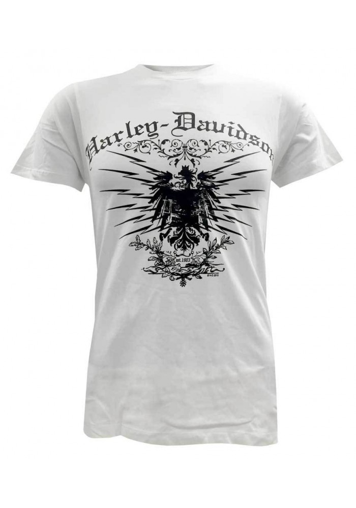 Harley Davidson Homme Tee Shirt Manches Courtes, Charged Eagle Graphic, Blanc