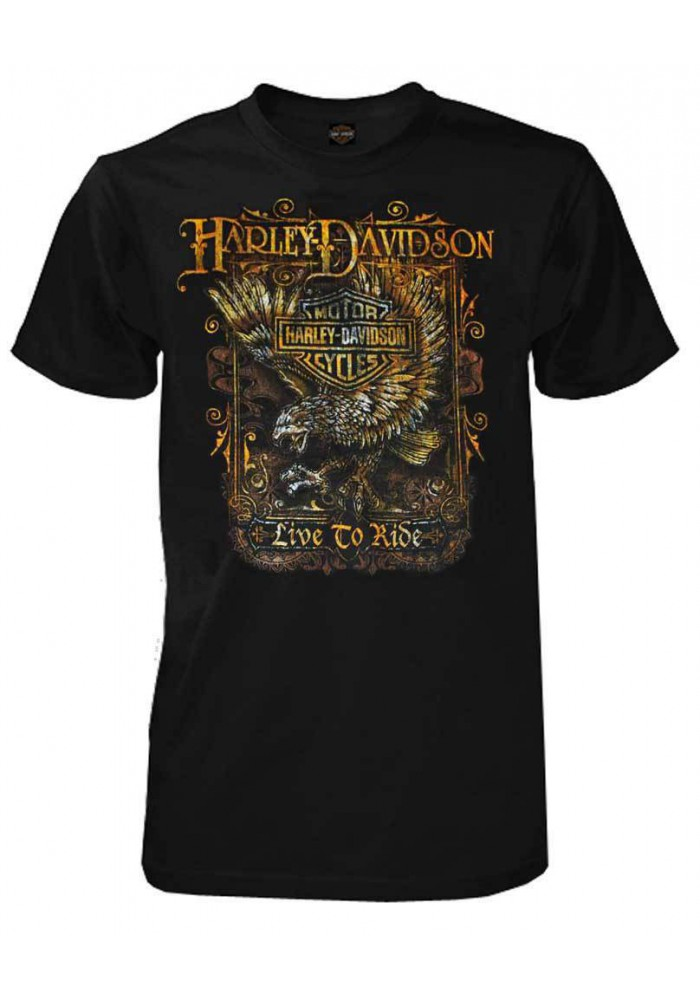 Harley Davidson Homme Live to Ride T-Shirt Manches Courtes Noir 30293168