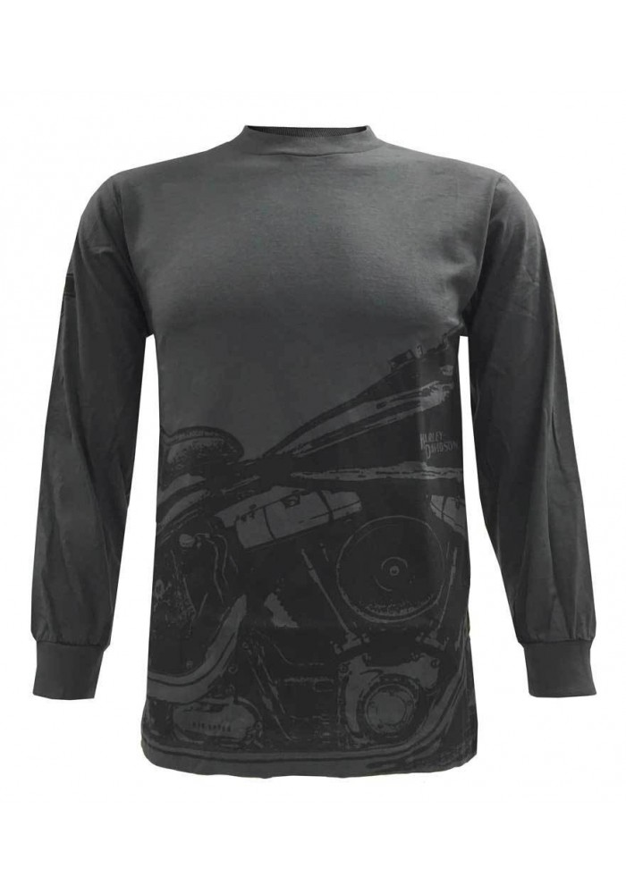 Harley Davidson Homme Chemise Manches Longues, Retro Springer Motorcycle, Charcoal