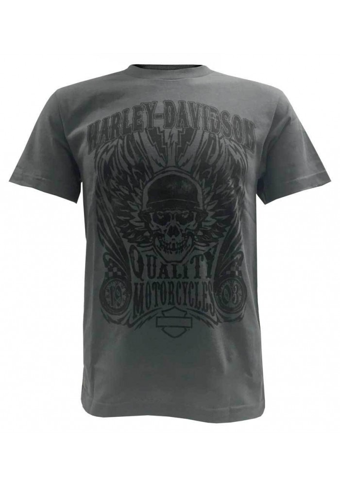 Harley Davidson Homme Overload Skull Distressed Chemise Manches Courtes Charcoal 30298307